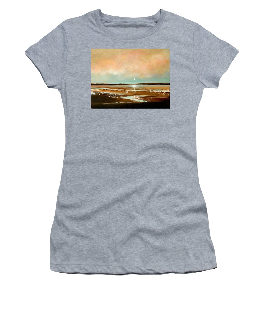 Beach Women's T-Shirt (Athletic Fit) featuring the painting Beach Reflections by Toni Grote