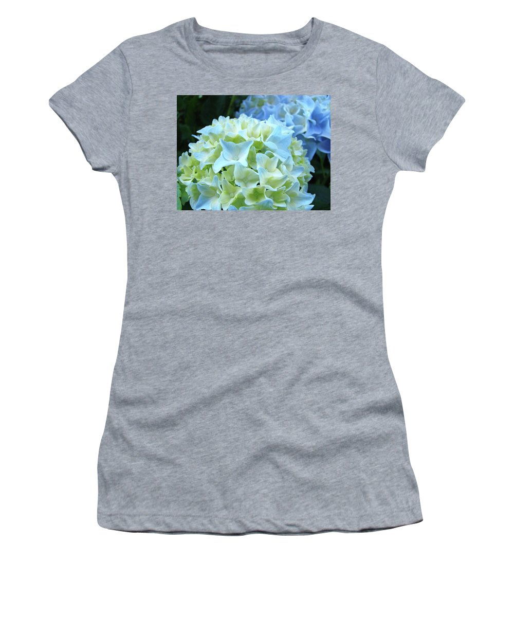 Hydrangea Women's T-Shirt (Athletic Fit) featuring the photograph Beautiful Blue Hydrangea Floral Art Prints Creamy White Pastel by Baslee Troutman