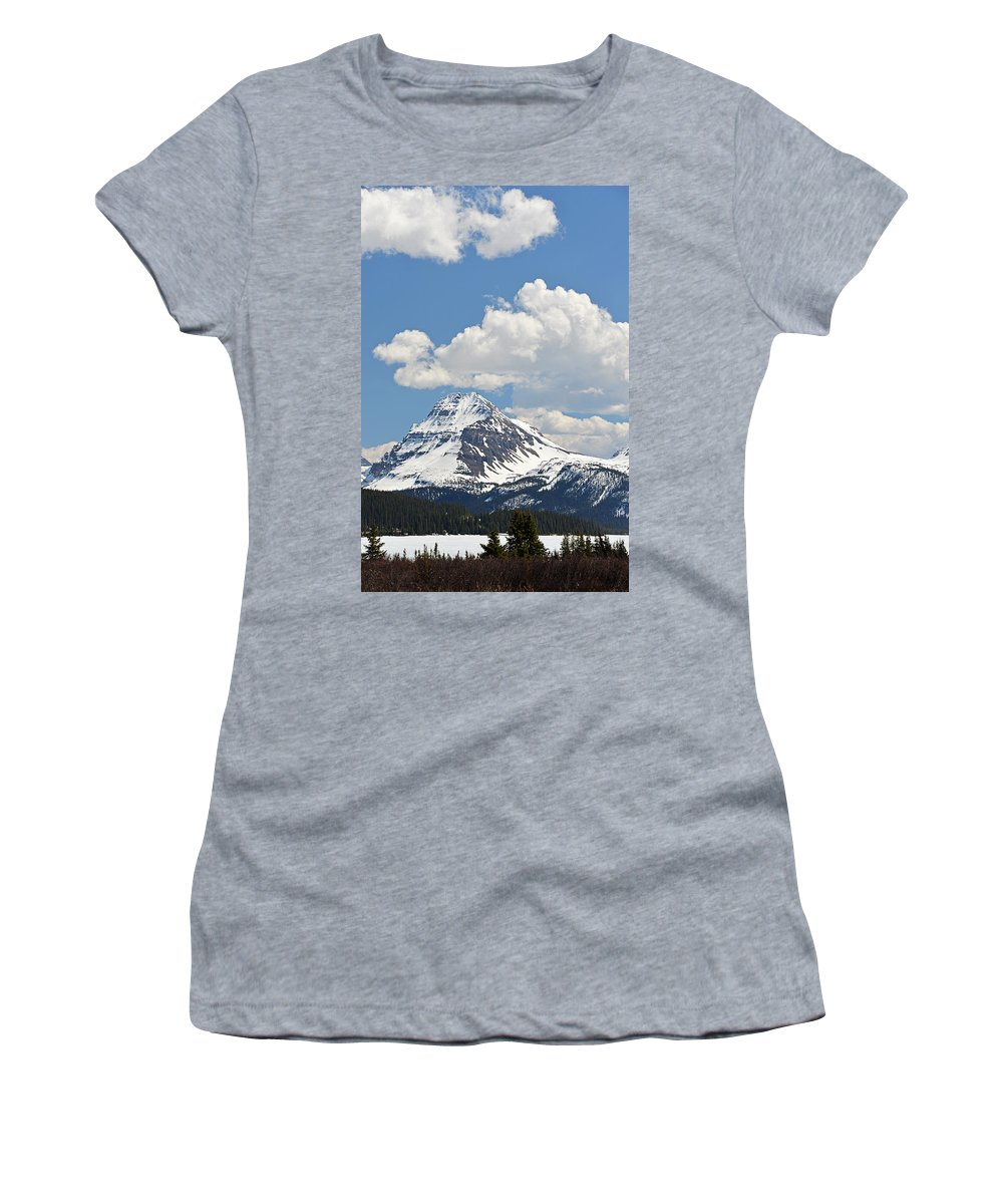 Bow Lake Women's T-Shirt featuring the photograph Beautiful Bow Lake by Ginny Barklow