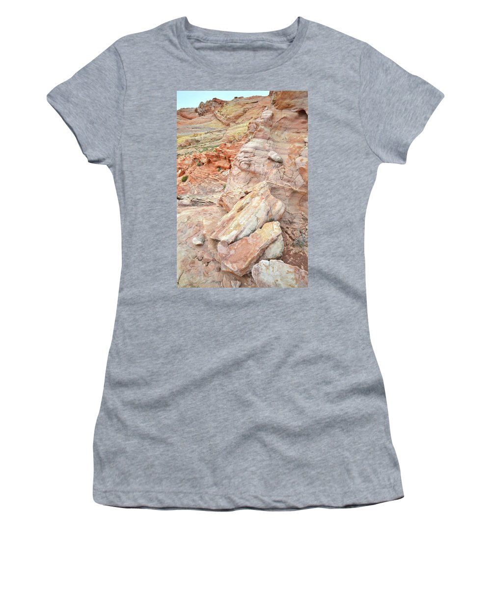Valley Of Fire State Park Women's T-Shirt featuring the photograph Beautiful Color In Wash 3 Of Valley Of Fire by Ray Mathis