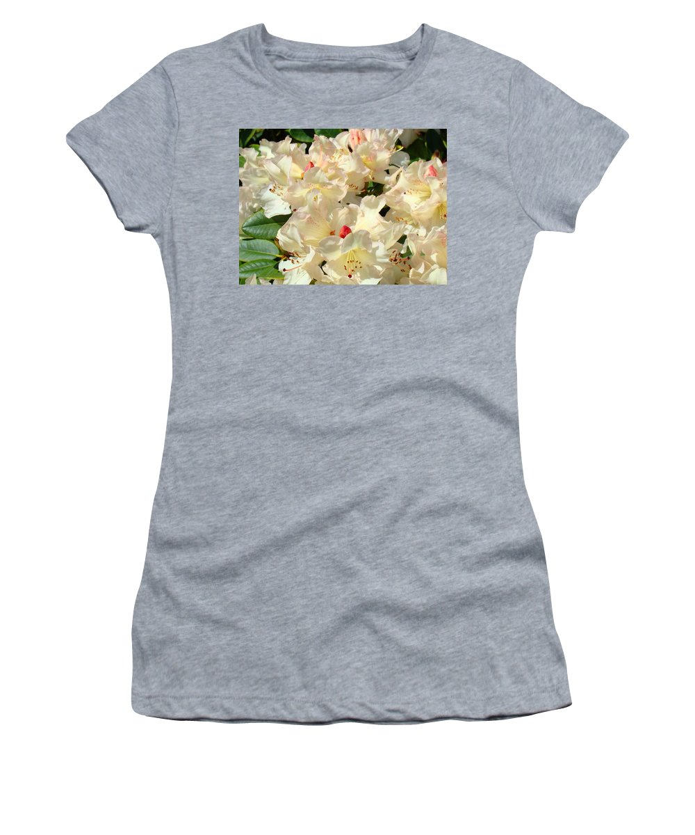 Beautiful Women's T-Shirt (Athletic Fit) featuring the photograph Beautiful Creamy White Pink Rhodies Floral Garden Baslee Troutman by Baslee Troutman