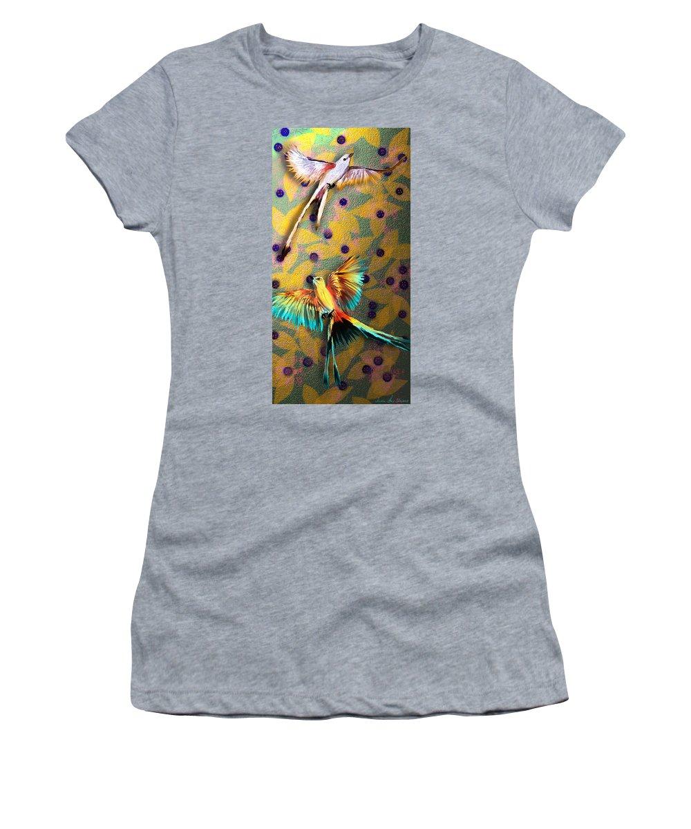 Flycatcher Women's T-Shirt (Athletic Fit) featuring the digital art Beautiful Scissor-tailed Flycatchers by Iowan Stone-Flowers