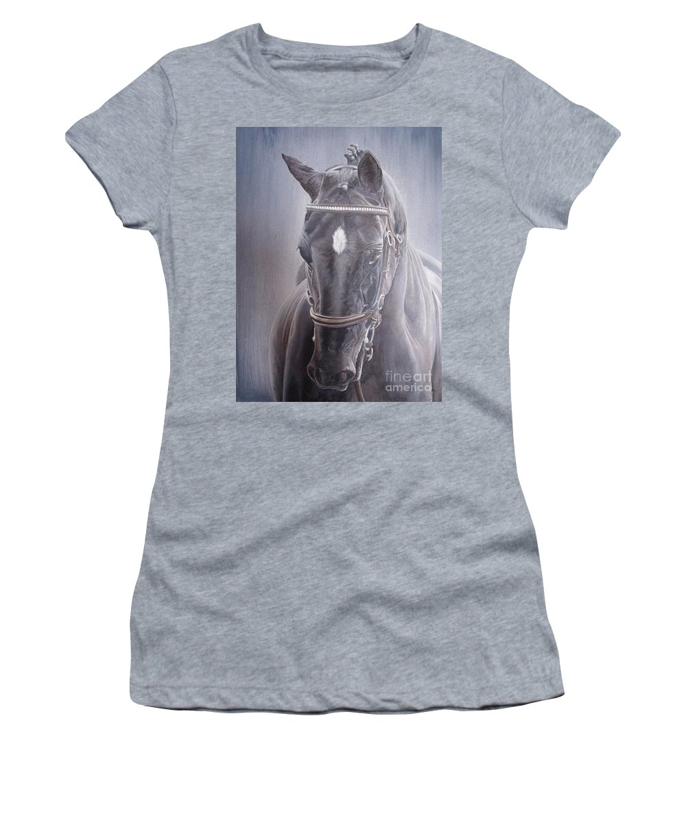 Horse Women's T-Shirt (Athletic Fit) featuring the painting Beauty Spot by Pauline Sharp