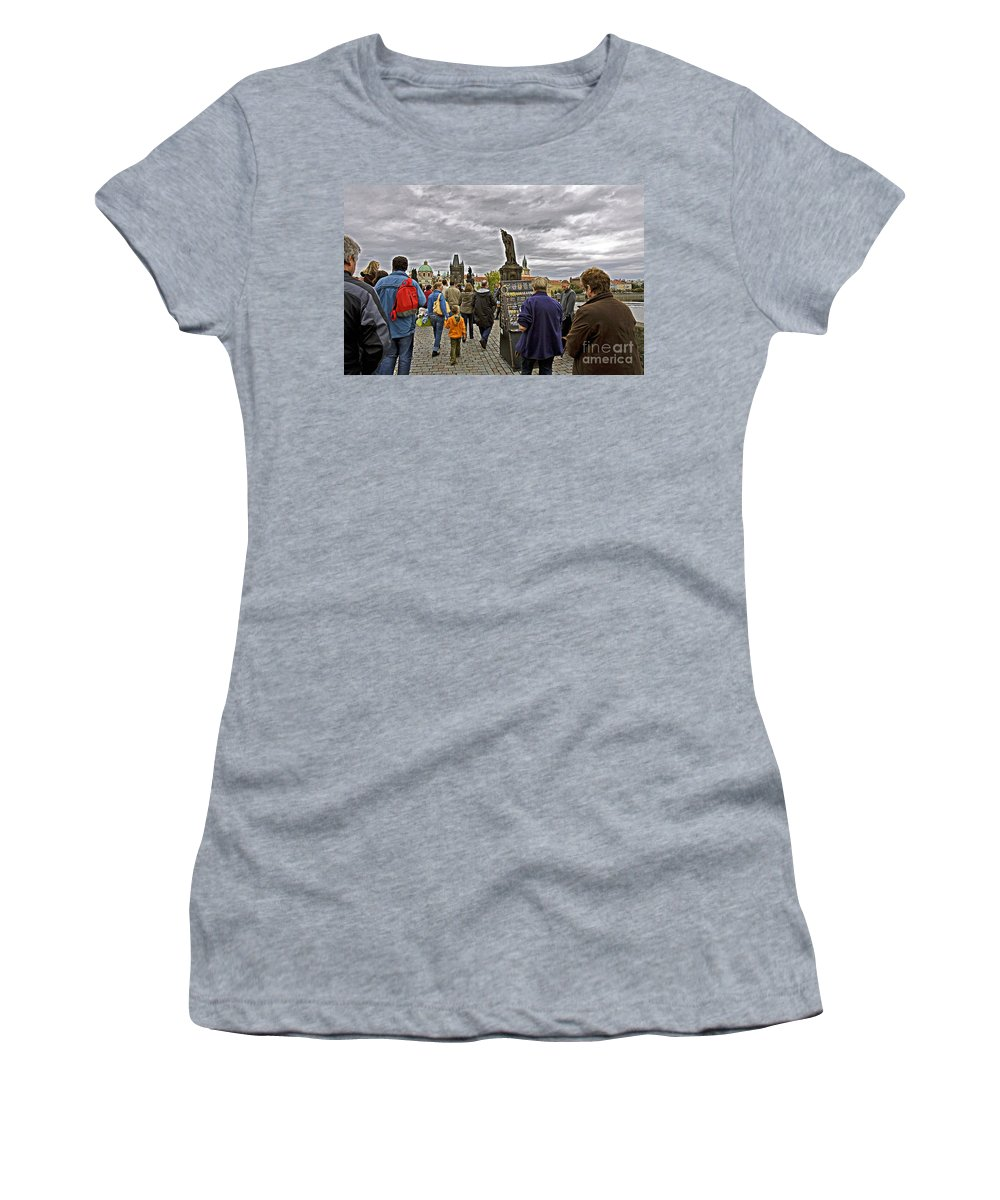 Prague Women's T-Shirt (Athletic Fit) featuring the photograph Before The Rain On The Charles Bridge by Madeline Ellis