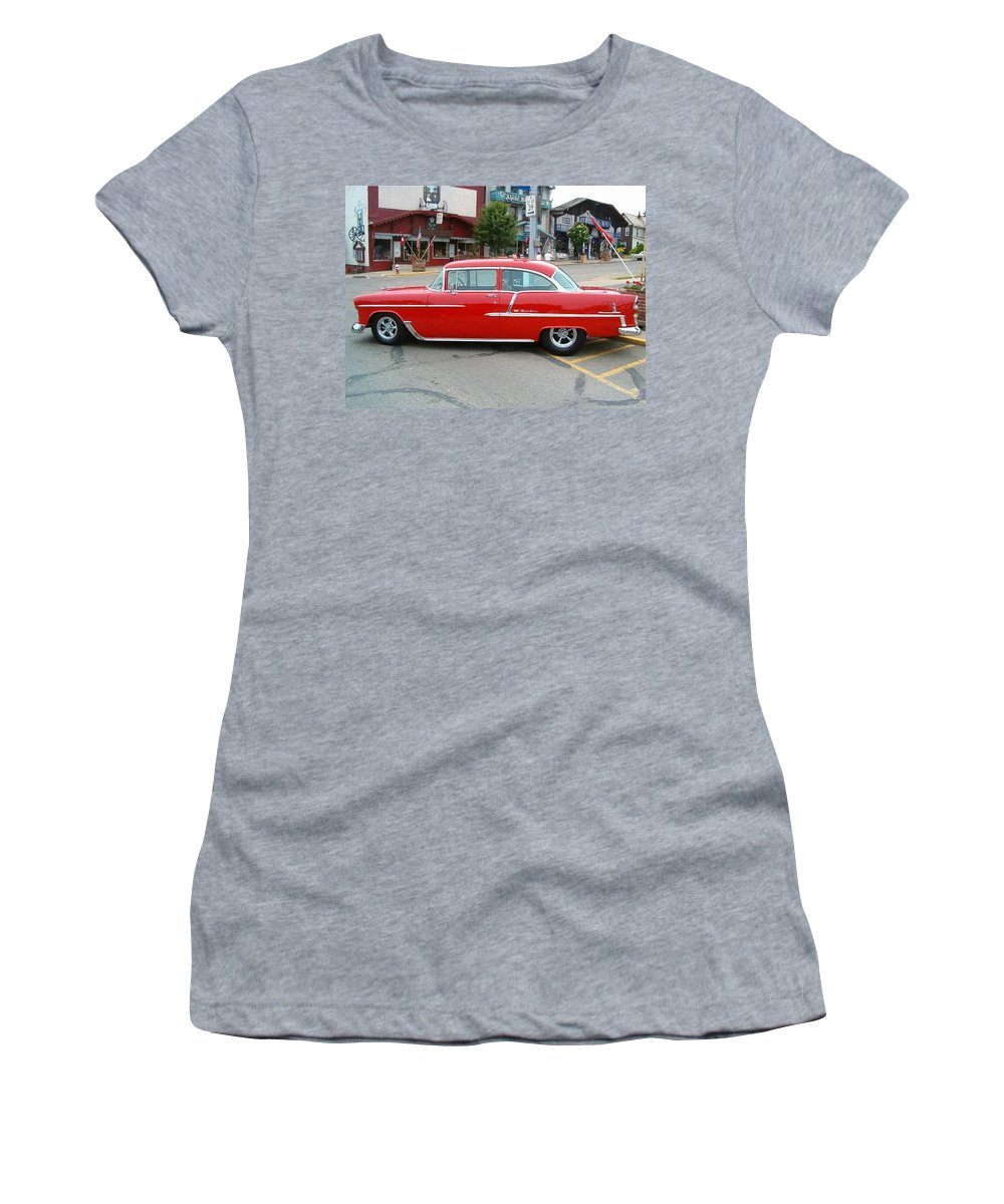 Belair Women's T-Shirt (Athletic Fit) featuring the photograph Belair Red by Sara Raber