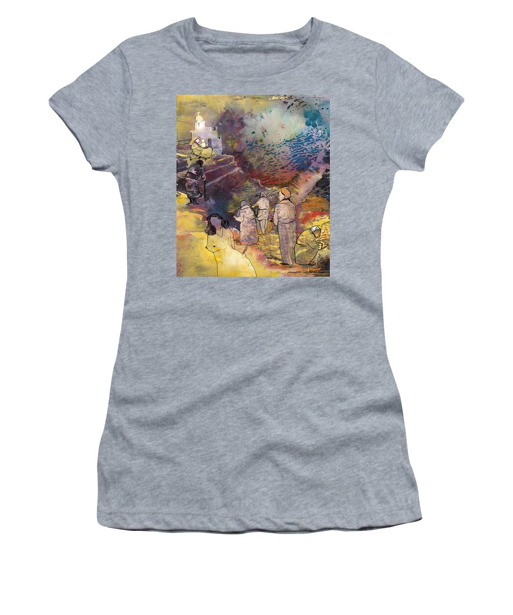 Fantasy Women's T-Shirt (Athletic Fit) featuring the painting Believing Or Not Believing by Miki De Goodaboom