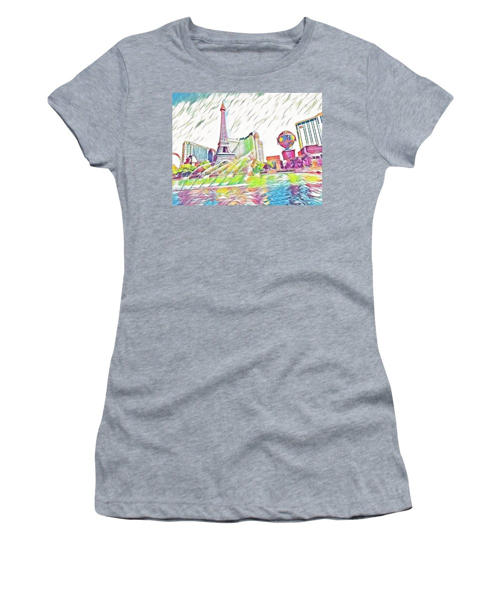 Las Vegas Women's T-Shirt (Athletic Fit) featuring the mixed media Bellagio Fountains by Aurora Bautista