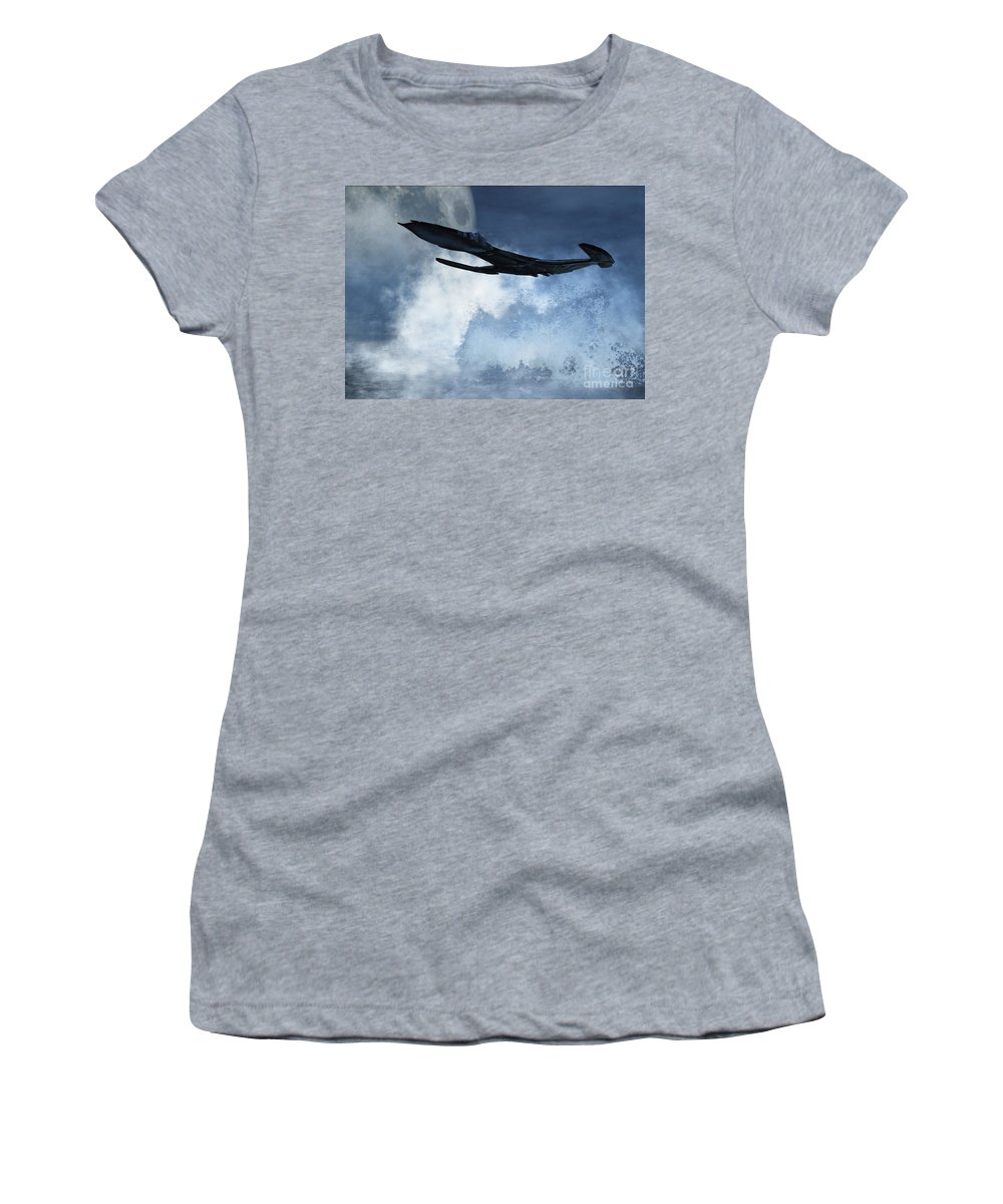 Flight Women's T-Shirt (Athletic Fit) featuring the digital art Below Radar by Richard Rizzo