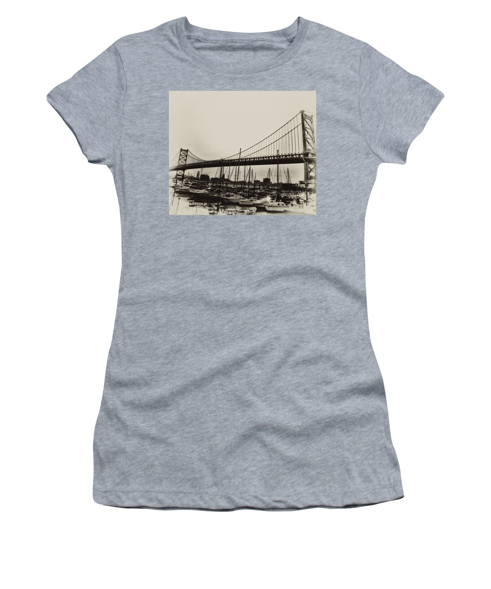 Philadelphia Women's T-Shirt featuring the photograph Ben Franklin Bridge From The Marina In Black And White. by Bill Cannon