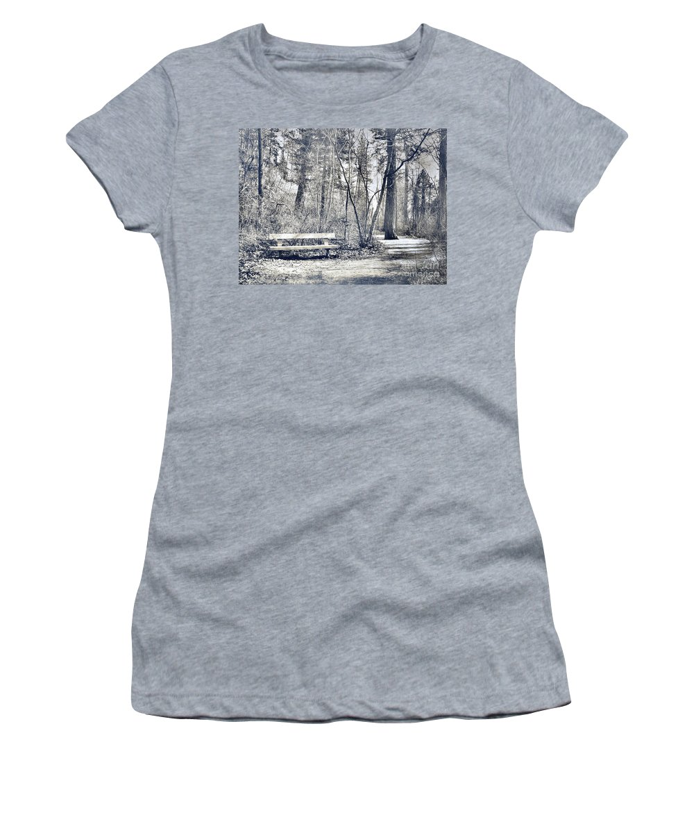 Monotone Women's T-Shirt (Athletic Fit) featuring the photograph Benched by Tara Turner
