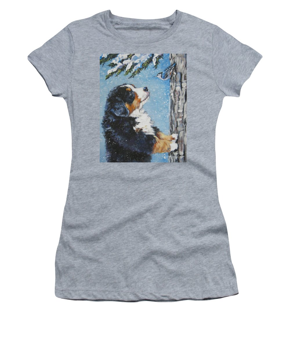 Bernese Mountain Dog Women's T-Shirt (Athletic Fit) featuring the painting bernese Mountain Dog puppy and nuthatch by Lee Ann Shepard