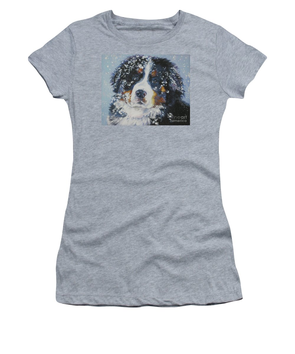 Bernese Mountain Dog Women's T-Shirt (Athletic Fit) featuring the painting Bernese Mountain Dog Puppy by Lee Ann Shepard