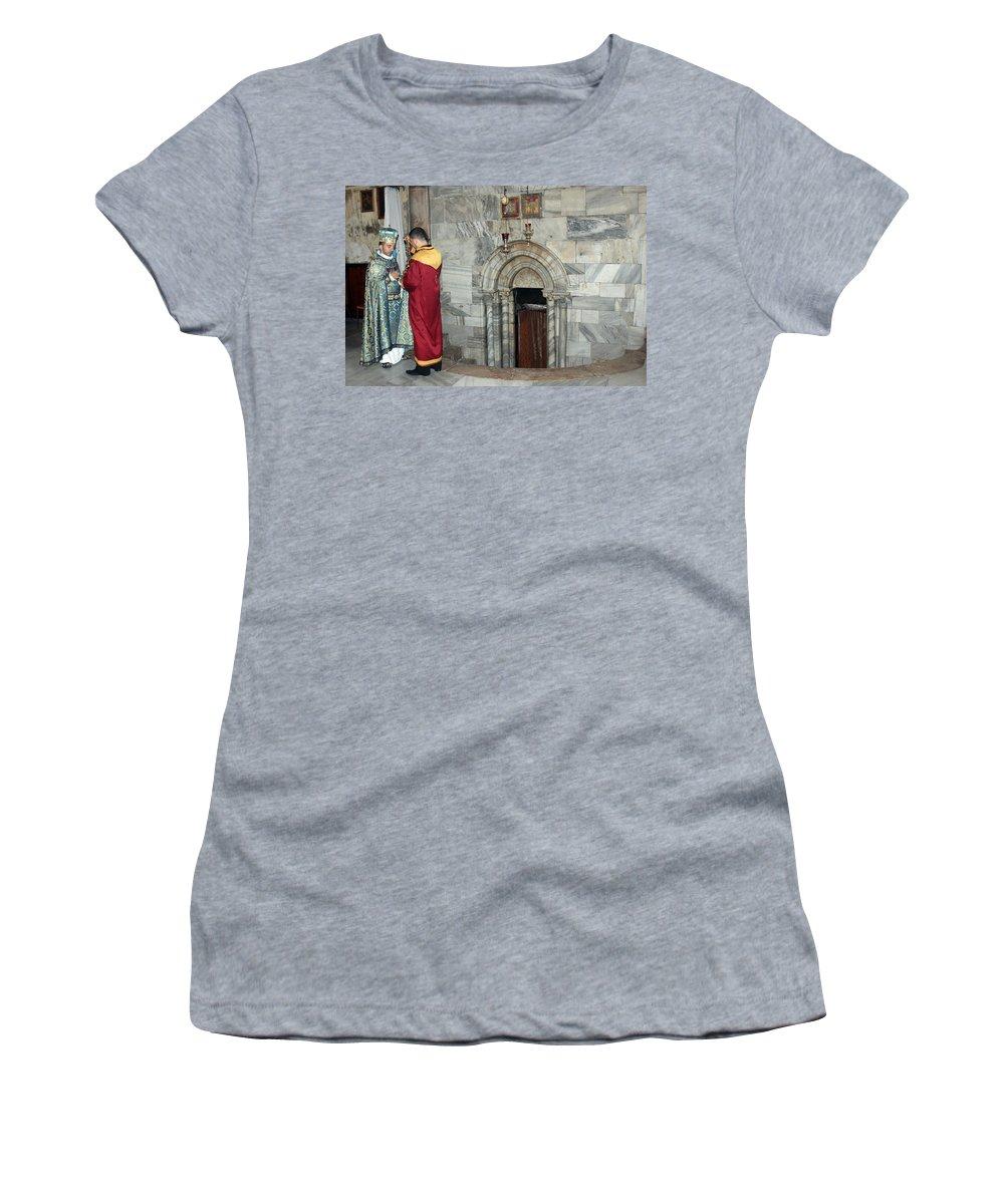 Armenian Women's T-Shirt (Athletic Fit) featuring the photograph Bethlehem - Nativity Church - Preparation For Armenian Mass by Munir Alawi