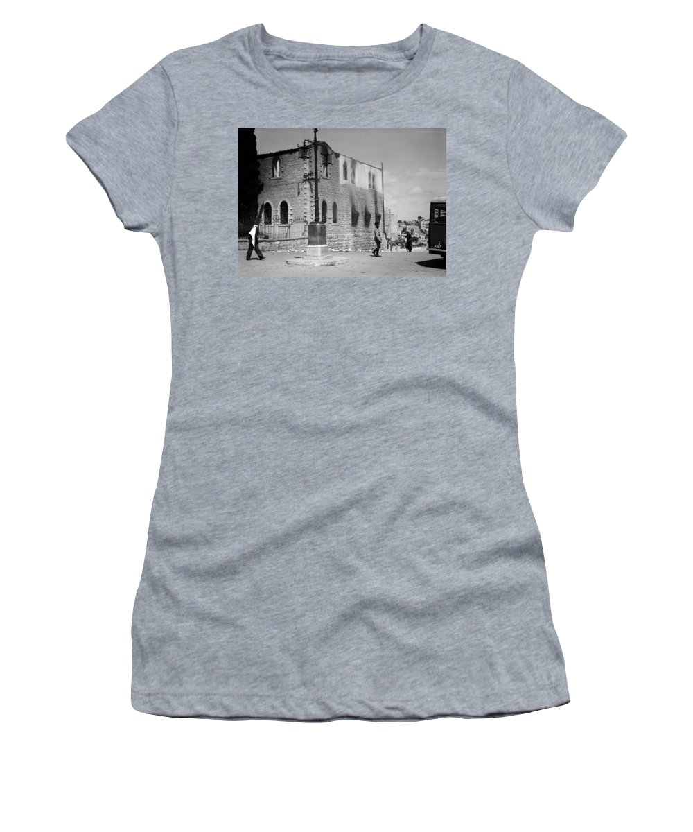 Bethlehem Women's T-Shirt featuring the photograph Bethlehem Police Barracks Burned Down On 1938 by Munir Alawi