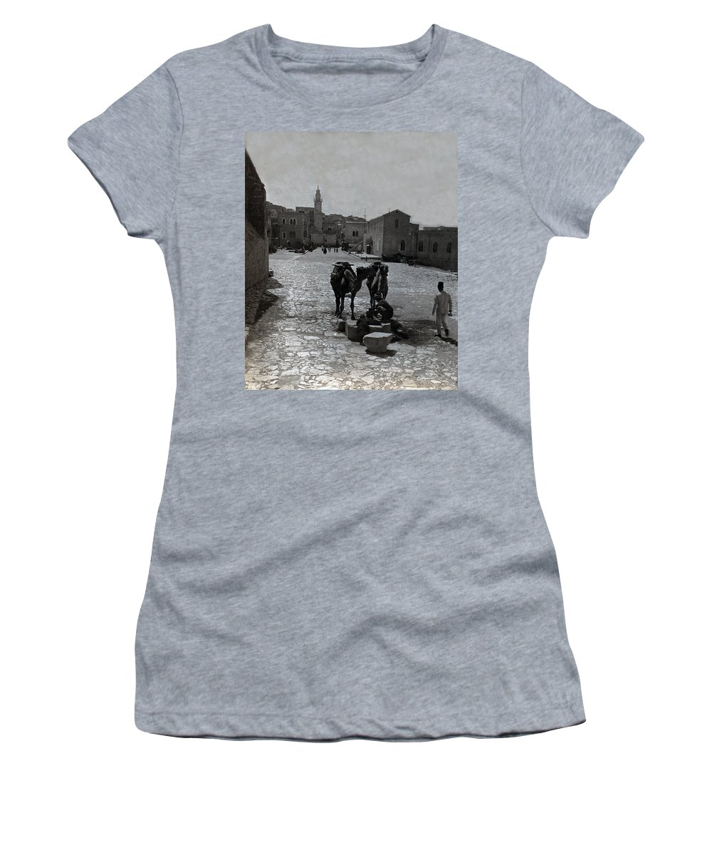 Bethlehem Women's T-Shirt (Athletic Fit) featuring the photograph Bethlehem Street Scene 1911 by Munir Alawi