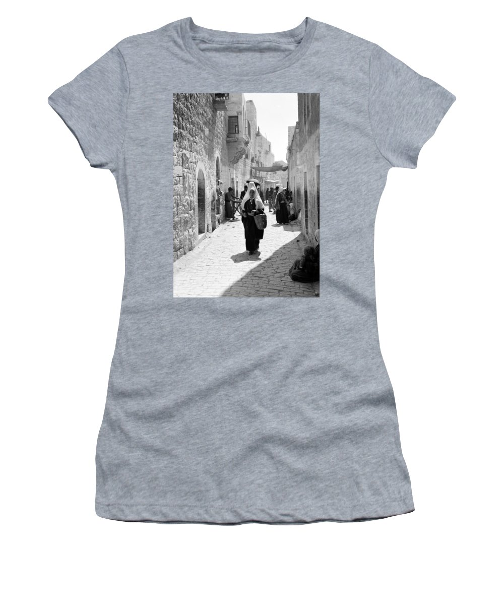 Bethlehem Women's T-Shirt featuring the photograph Bethlehemite Going To The Market by Munir Alawi