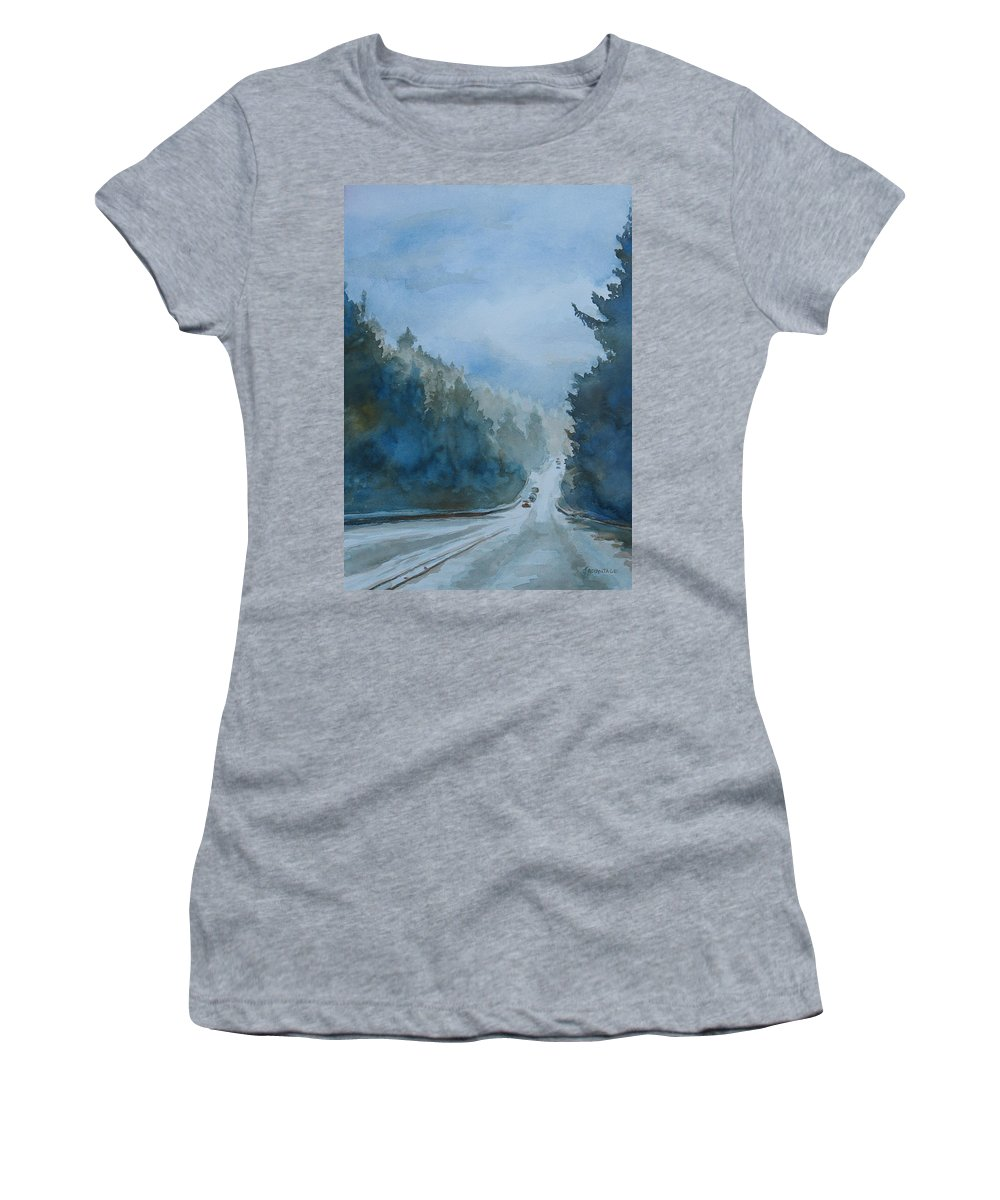 Road Women's T-Shirt (Athletic Fit) featuring the painting Between The Showers On Hwy 101 by Jenny Armitage