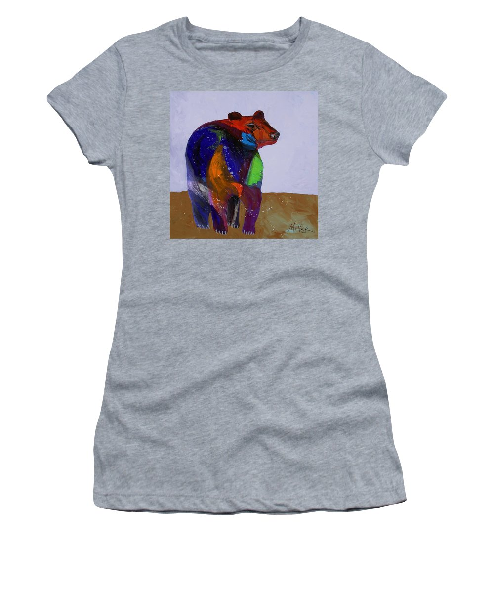 Black Bear Women's T-Shirt featuring the painting Big Bear by Tracy Miller