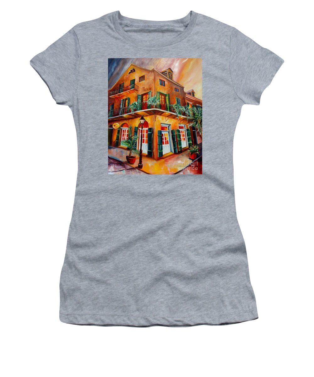 New Orleans Women's T-Shirt featuring the painting Big Easy Sunset by Diane Millsap