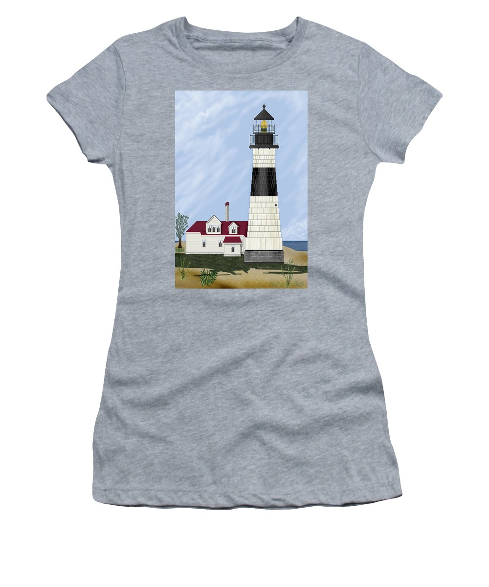 Big Sable Michigan Lighthouse Women's T-Shirt (Athletic Fit) featuring the painting Big Sable Michigan by Anne Norskog