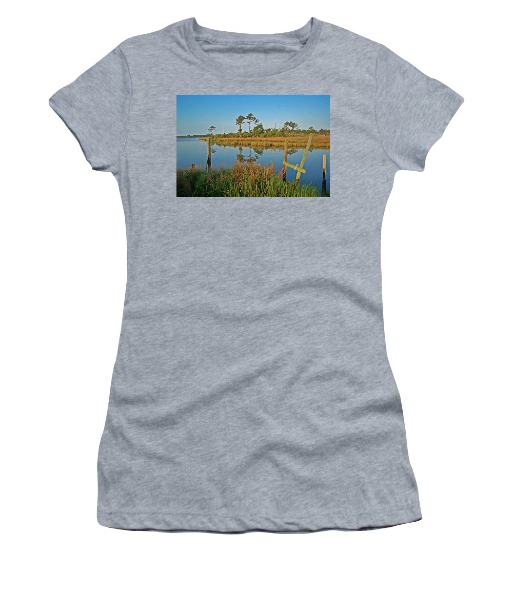 Shrimp Boat Women's T-Shirt (Athletic Fit) featuring the painting Billiys Back Bay by Michael Thomas