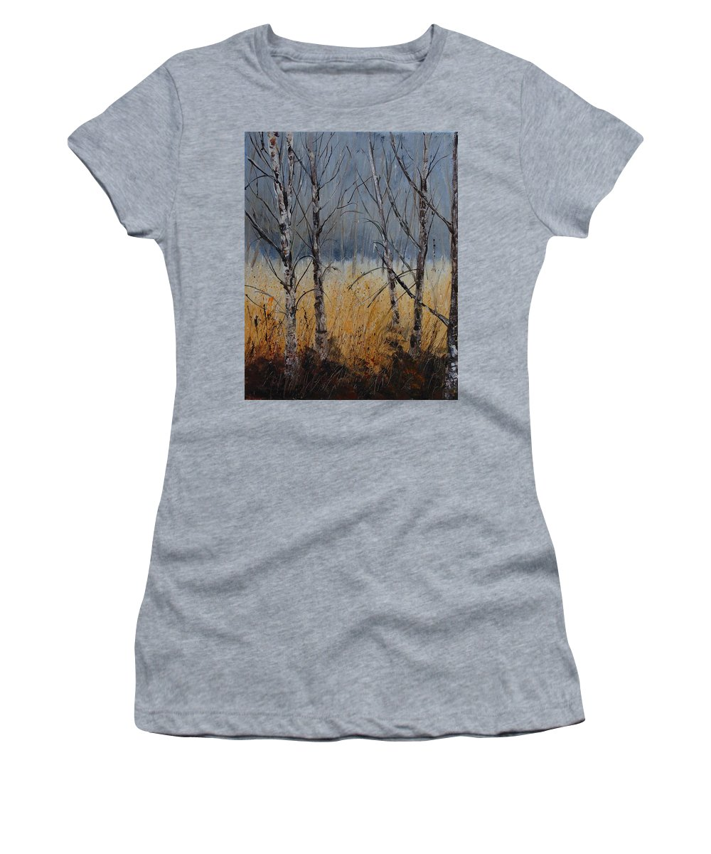 Winter Women's T-Shirt (Athletic Fit) featuring the painting Birch Trees by Pol Ledent