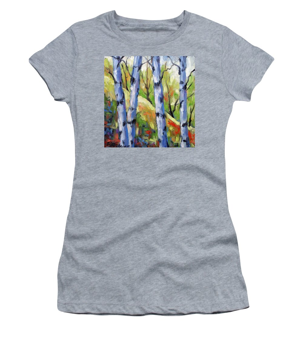 Art Women's T-Shirt (Athletic Fit) featuring the painting Birches 09 by Richard T Pranke