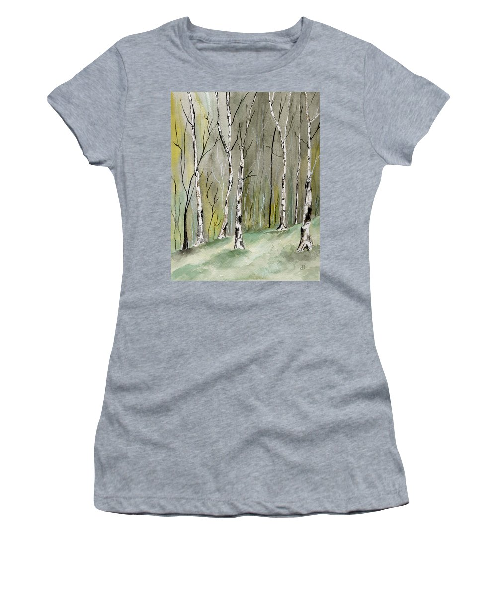 Landscape Women's T-Shirt (Athletic Fit) featuring the painting Birches Before Spring by Brenda Owen