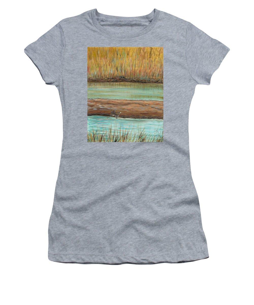 Bird Women's T-Shirt featuring the painting Bird in Flight by Nadine Rippelmeyer