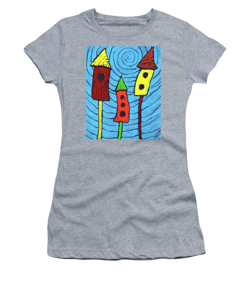 Bird Houses Women's T-Shirt featuring the painting Bird Neighbors by Wayne Potrafka