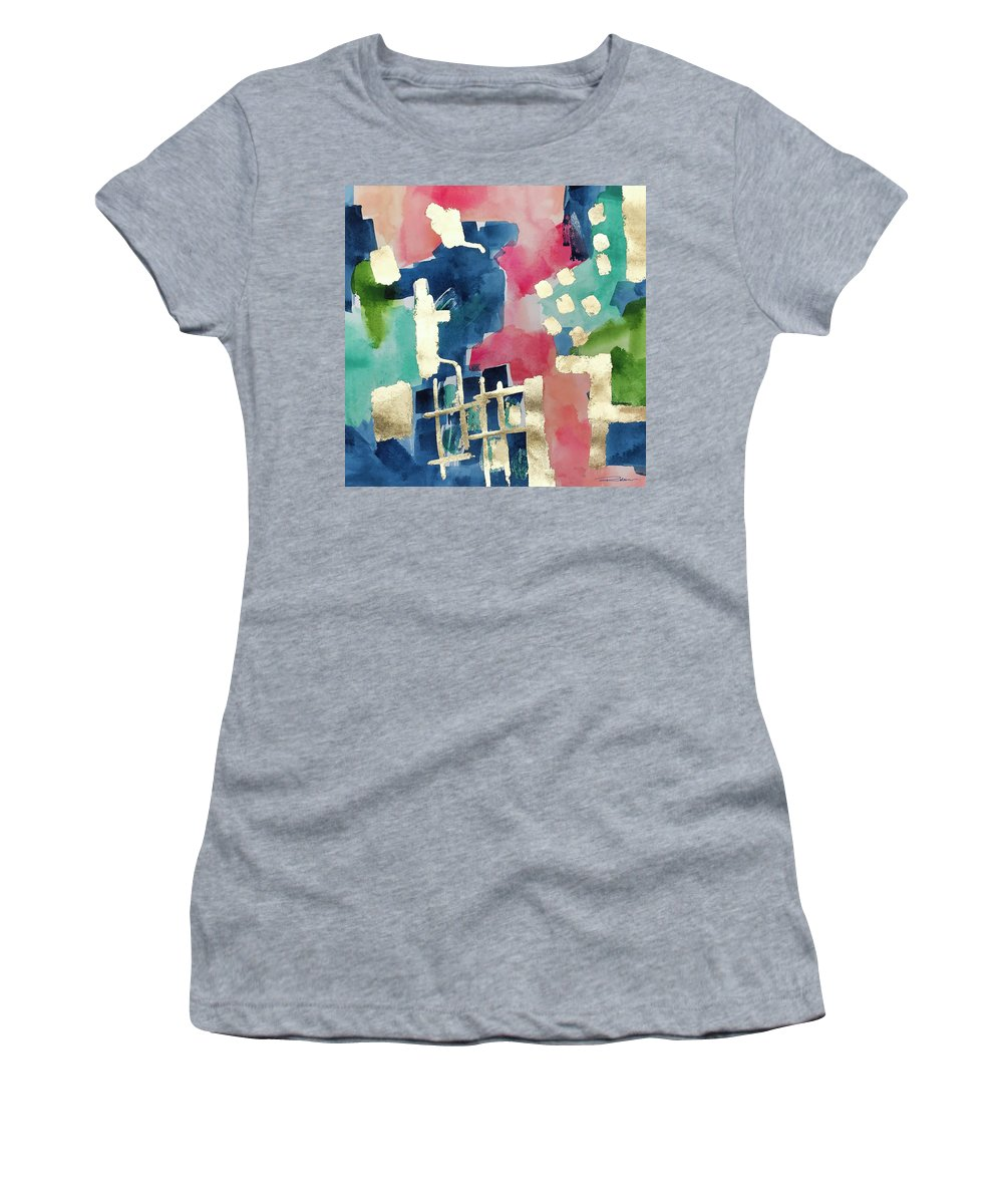 Abstract Art Women's T-Shirt (Athletic Fit) featuring the painting Bird Of Paradise No3 by Roleen Senic