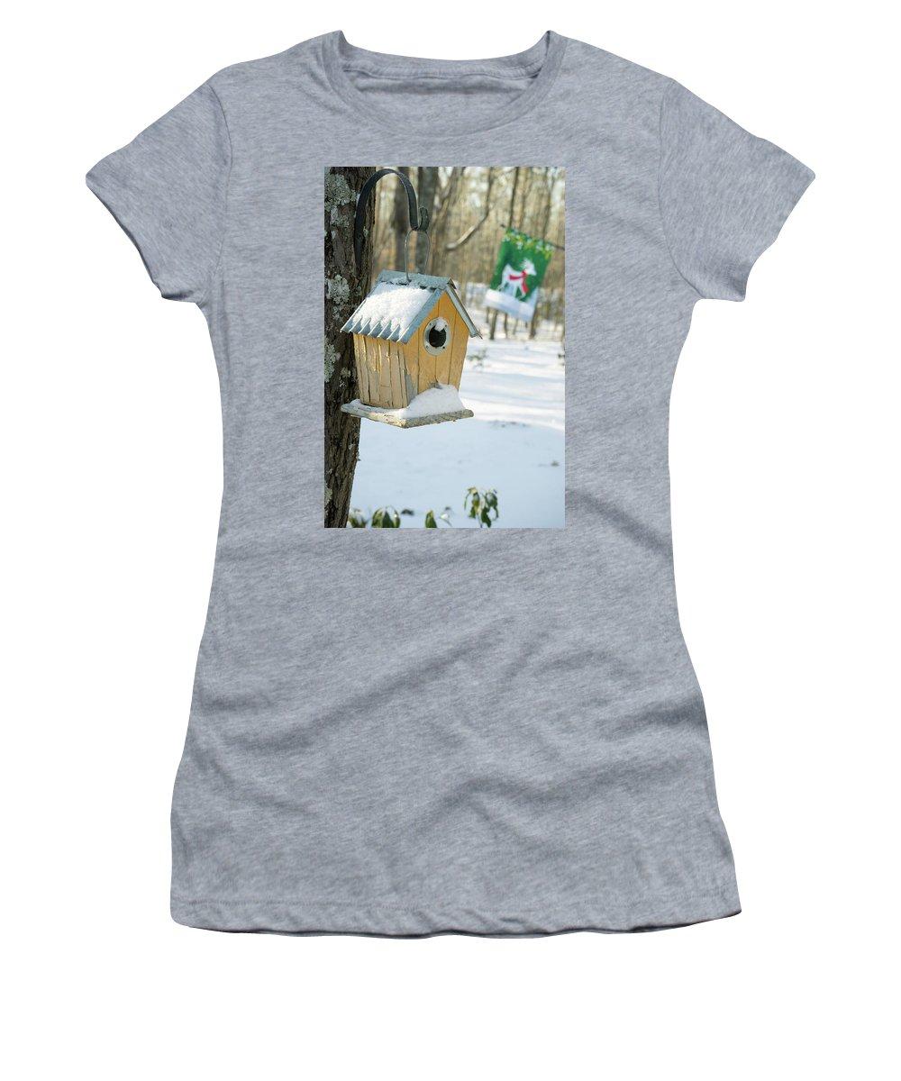 Birdhouse Women's T-Shirt featuring the photograph Birdhouse And Deer Flag by Douglas Barnett