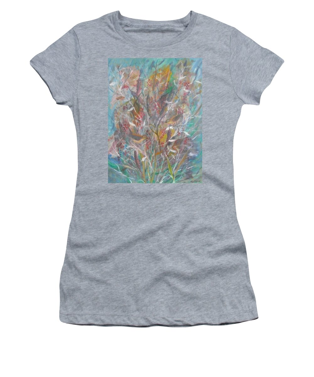 Birds Women's T-Shirt (Athletic Fit) featuring the painting Birds In A Bush by Ben Kiger