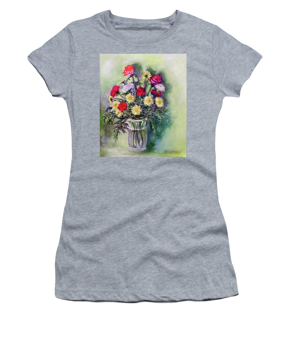 Birthday Women's T-Shirt (Athletic Fit) featuring the painting Birthday Flowers by Randy Burns