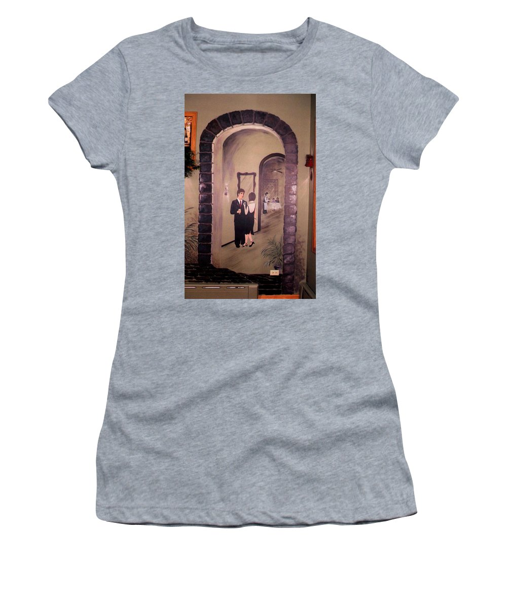Mural Women's T-Shirt featuring the painting Bistro Mural Detail 6 by Rachel Christine Nowicki