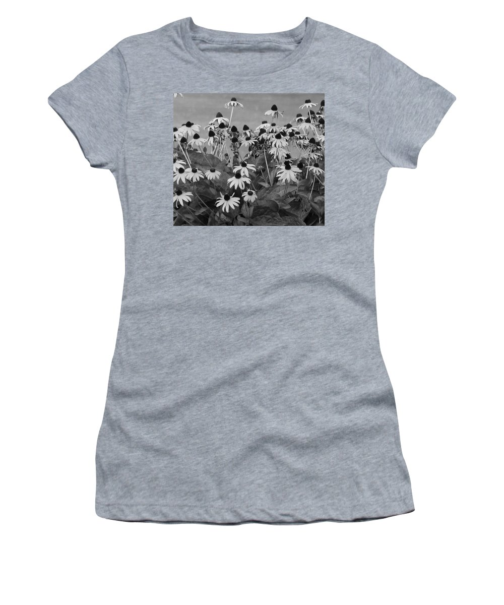 Women's T-Shirt (Athletic Fit) featuring the photograph Black And White Susans by Luciana Seymour