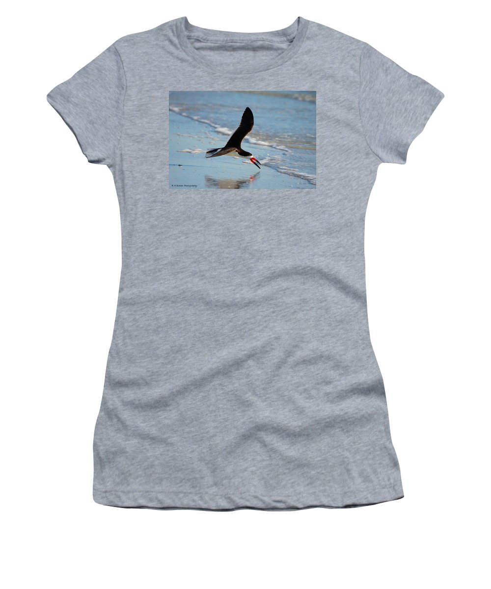 Black Skimmer Women's T-Shirt (Athletic Fit) featuring the photograph Black Skimmer by Barbara Bowen