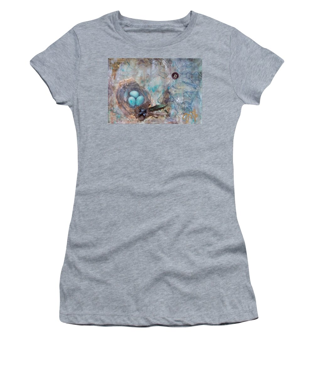 Nursery Rhymes Women's T-Shirt (Athletic Fit) featuring the mixed media Blackbird Blackbird by Jennifer Kelly