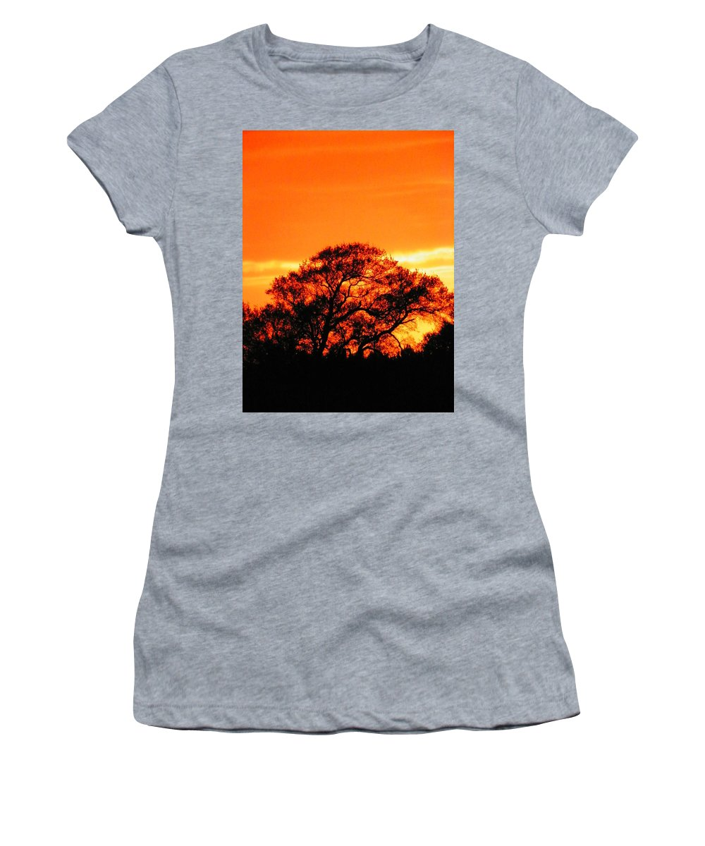 Trees Women's T-Shirt (Athletic Fit) featuring the photograph Blazing Oak Tree by Karen Wiles
