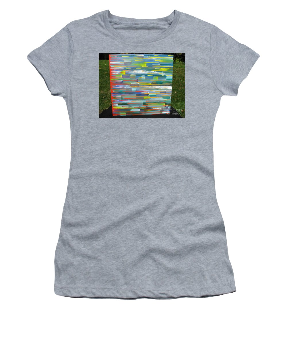Movement Women's T-Shirt featuring the painting Blindsided by Jacqueline Athmann