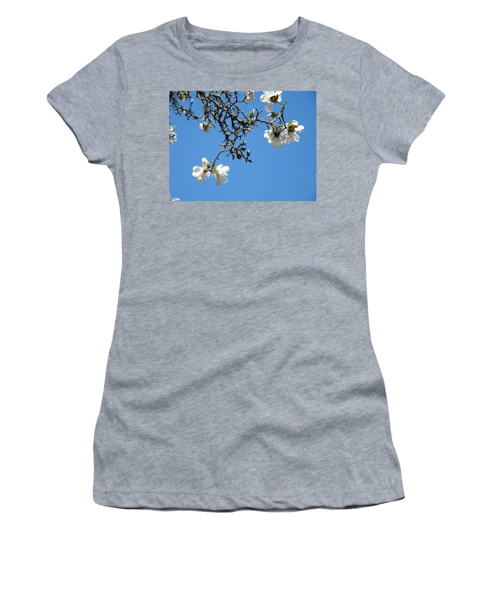 Magnolia Women's T-Shirt (Athletic Fit) featuring the photograph Blooming Trees Art Print White Magnolia Flowers Baslee Troutman by Baslee Troutman