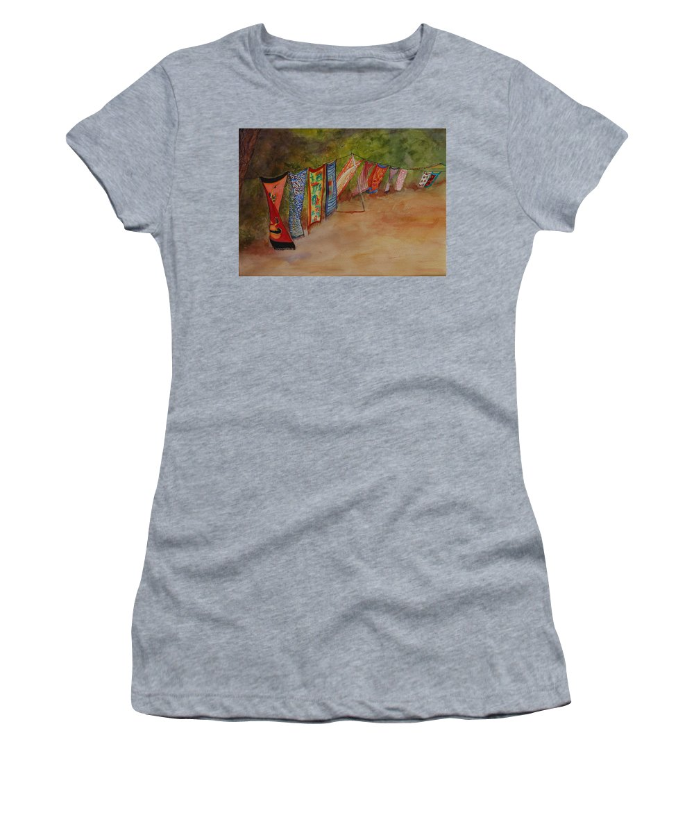 Sari Women's T-Shirt featuring the painting Blowin' In The Wind by Ruth Kamenev