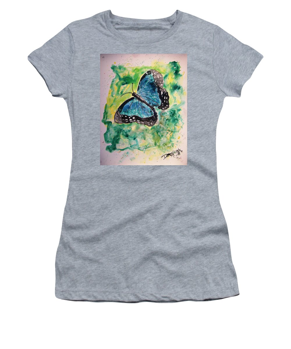 Wildlife Women's T-Shirt (Athletic Fit) featuring the painting Blue Butterfly by Derek Mccrea