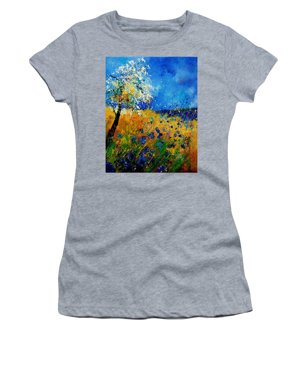Poppies Women's T-Shirt (Athletic Fit) featuring the painting Blue Cornflowers 450108 by Pol Ledent