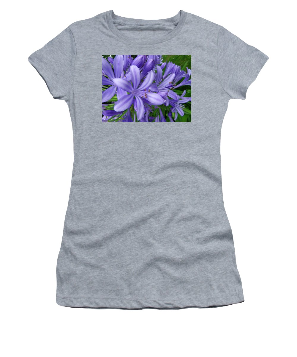 Flower Women's T-Shirt (Athletic Fit) featuring the photograph Blue Delight by Charleen Treasures