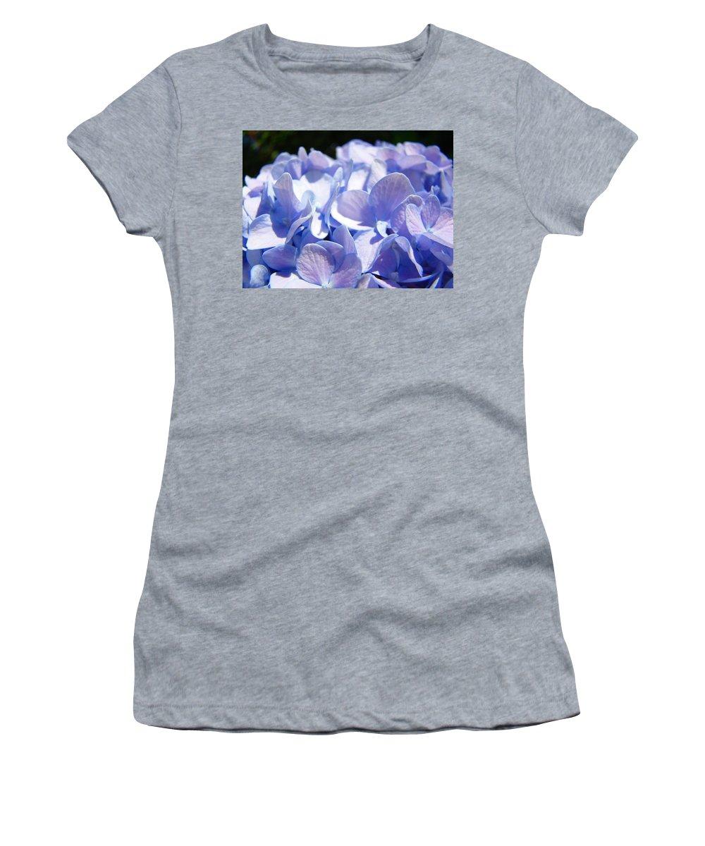 Hydrangea Women's T-Shirt (Athletic Fit) featuring the photograph Blue Floral Art Prints Blue Hydrangea Flower Baslee Troutman by Baslee Troutman
