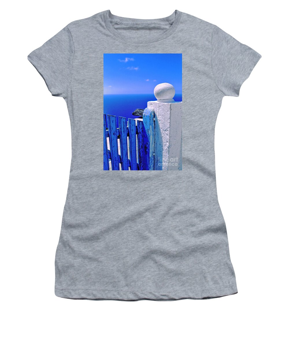 Blue Women's T-Shirt (Athletic Fit) featuring the photograph Blue Gate by Silvia Ganora