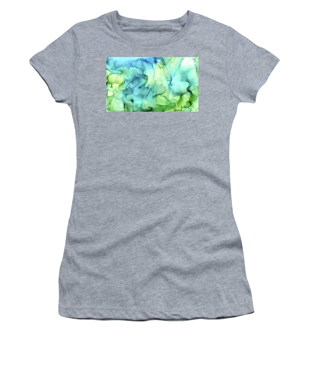 Ink Abstract Women's T-Shirt featuring the painting Blue Green Abstract Ink Painting by Olga Shvartsur