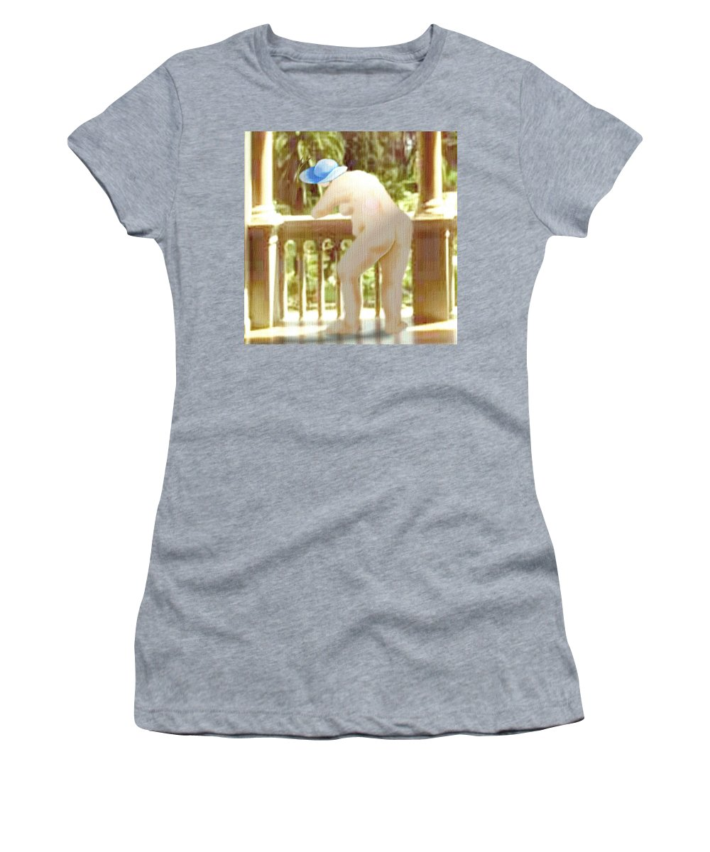 Woman Blue Hat Morning Nature Balcony Women's T-Shirt (Athletic Fit) featuring the digital art Blue Hat by Veronica Jackson