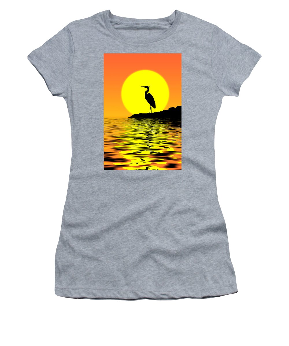 Heron Women's T-Shirt (Athletic Fit) featuring the photograph Blue Heron Sunset by Rich Leighton